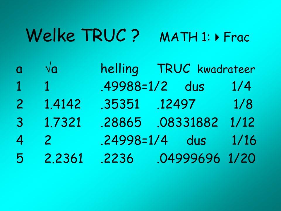 Welke TRUC MATH 1:Frac a a helling TRUC kwadrateer