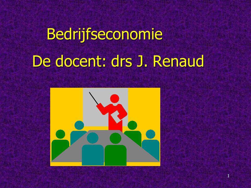 Bedrijfseconomie De docent: drs J. Renaud