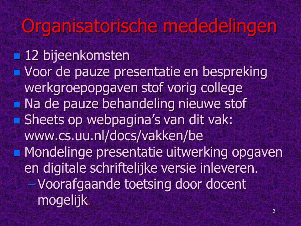 Organisatorische mededelingen