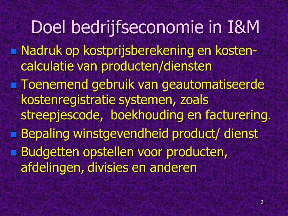 Doel bedrijfseconomie in I&M