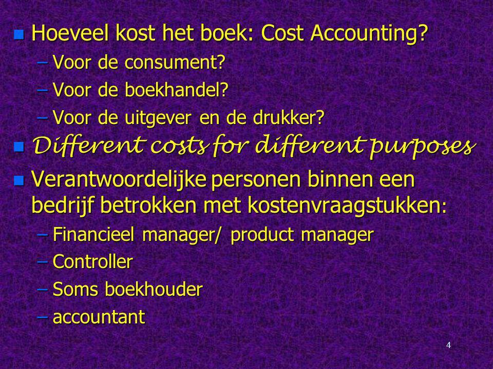 Hoeveel kost het boek: Cost Accounting