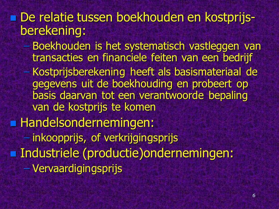 De relatie tussen boekhouden en kostprijs-berekening: