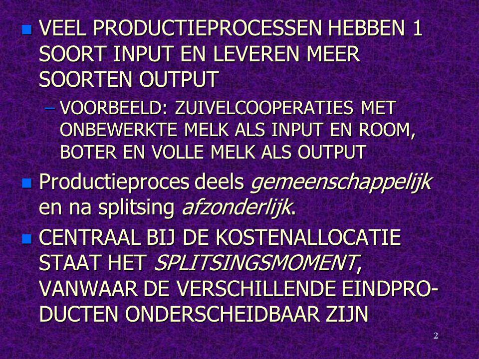 Productieproces deels gemeenschappelijk en na splitsing afzonderlijk.