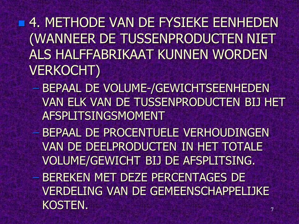 4. METHODE VAN DE FYSIEKE EENHEDEN (WANNEER DE TUSSENPRODUCTEN NIET ALS HALFFABRIKAAT KUNNEN WORDEN VERKOCHT)