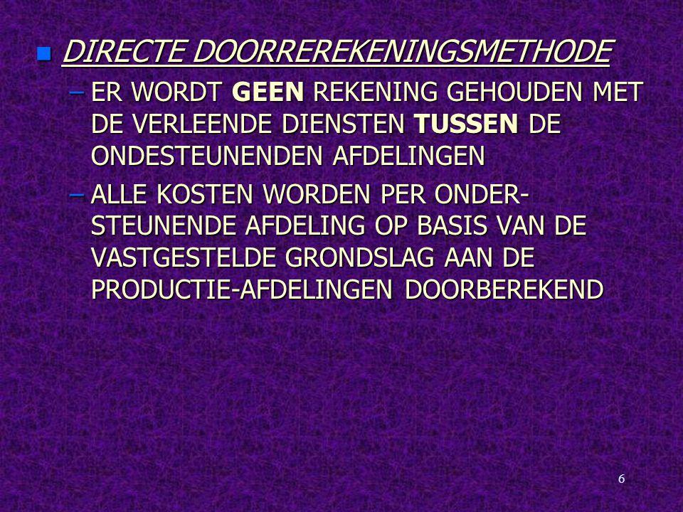 DIRECTE DOORREREKENINGSMETHODE