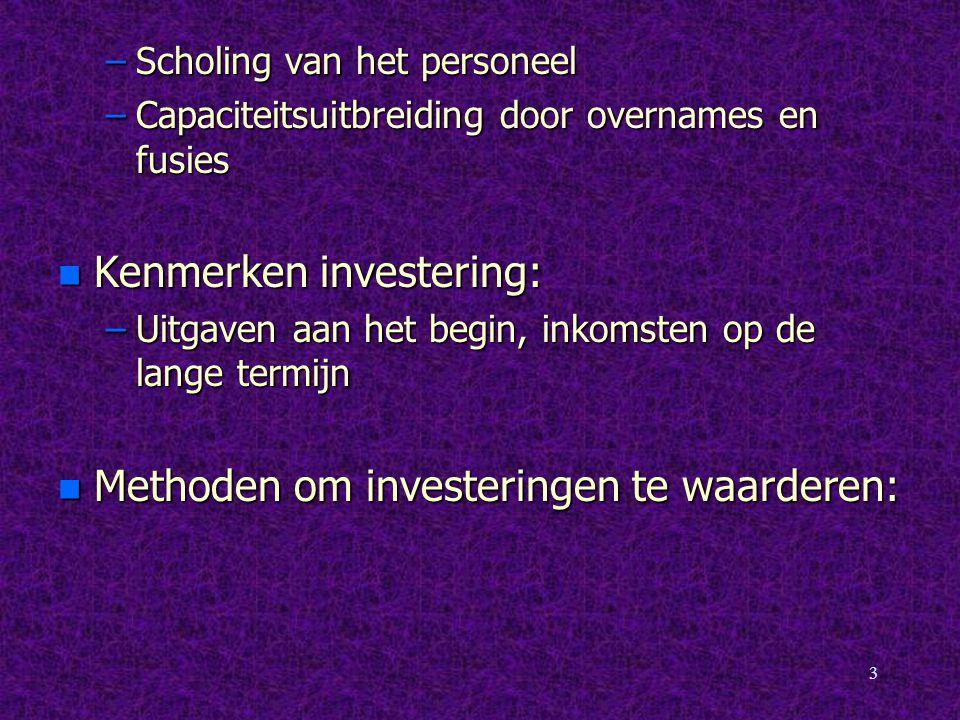 Kenmerken investering: