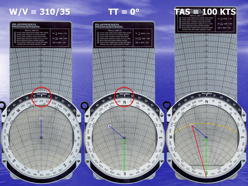 W/V = 310/35 TT = 0° TAS = 100 KTS