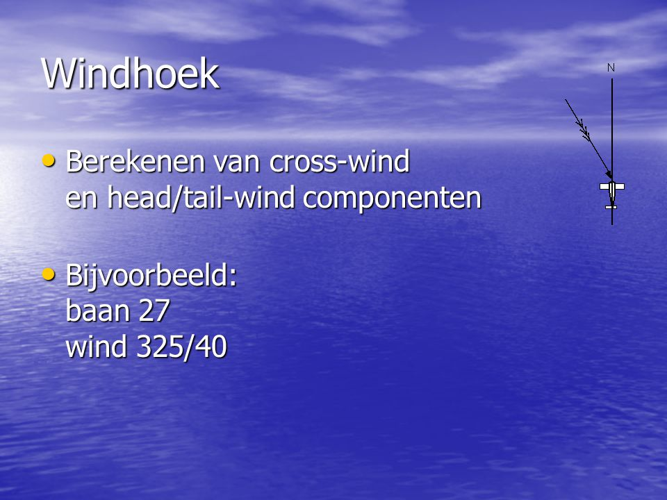 Windhoek Berekenen van cross-wind en head/tail-wind componenten