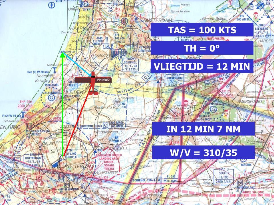 TAS = 100 KTS TH = 0° VLIEGTIJD = 12 MIN IN 12 MIN 7 NM W/V = 310/35