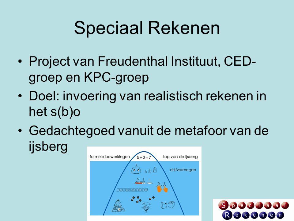 Speciaal Rekenen Project van Freudenthal Instituut, CED-groep en KPC-groep. Doel: invoering van realistisch rekenen in het s(b)o.