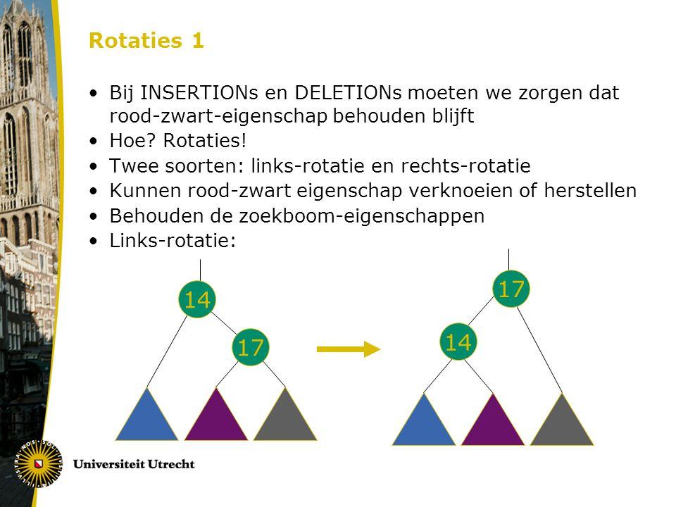 Rotaties 1 Bij INSERTIONs en DELETIONs moeten we zorgen dat rood-zwart-eigenschap behouden blijft. Hoe Rotaties!