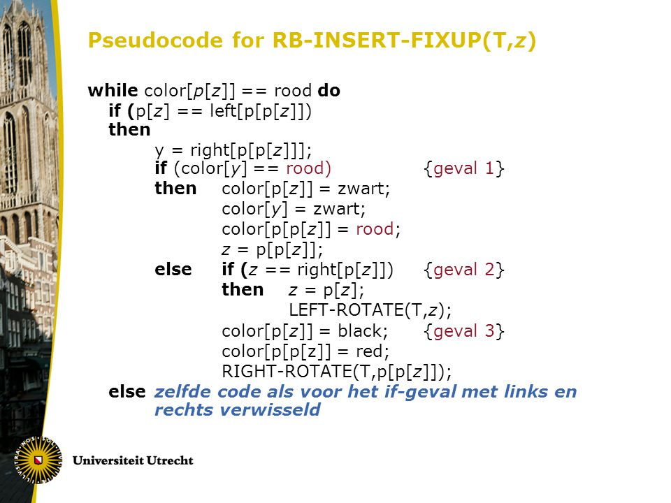 Pseudocode for RB-INSERT-FIXUP(T,z)