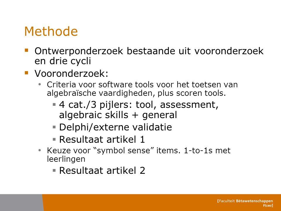 Methode Ontwerponderzoek bestaande uit vooronderzoek en drie cycli