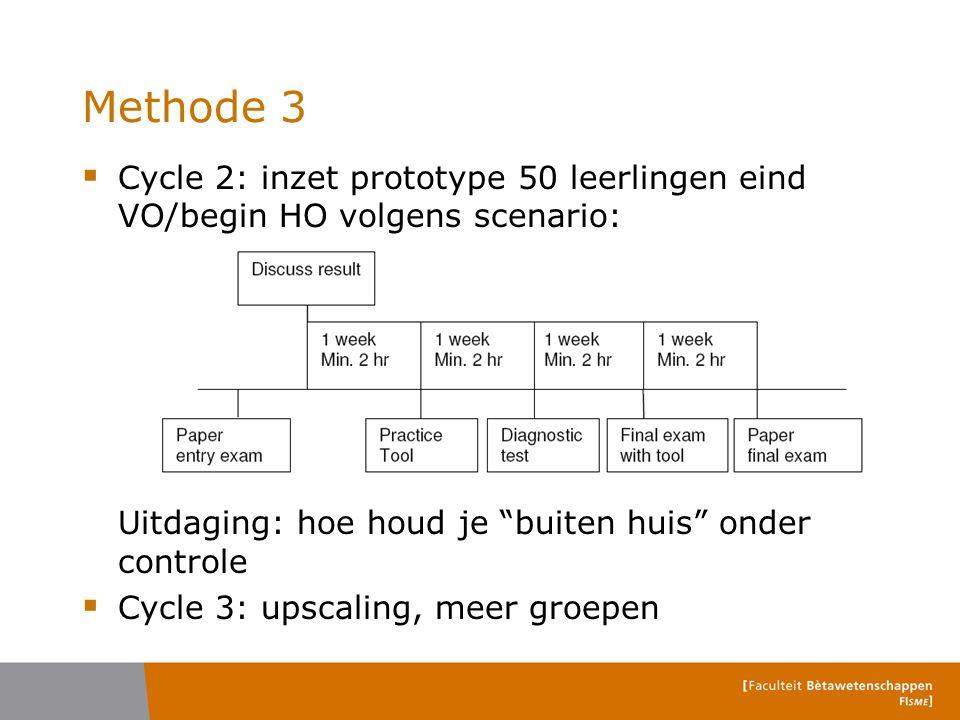 Methode 3 Cycle 2: inzet prototype 50 leerlingen eind VO/begin HO volgens scenario: Uitdaging: hoe houd je buiten huis onder controle.