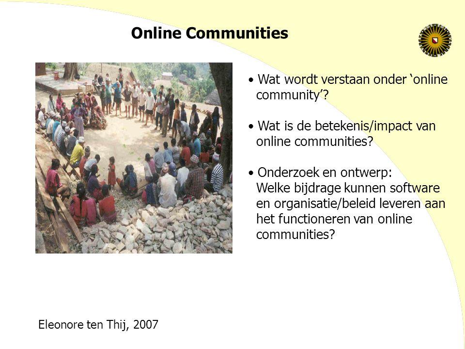 Online Communities Wat wordt verstaan onder 'online community'