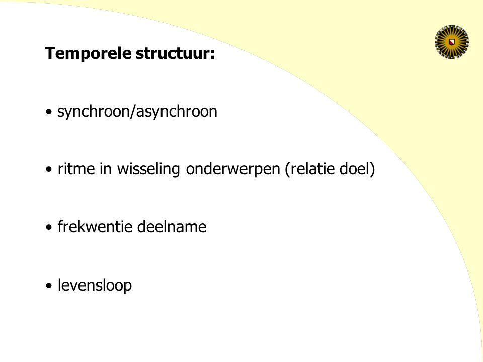Temporele structuur: synchroon/asynchroon. ritme in wisseling onderwerpen (relatie doel) frekwentie deelname.