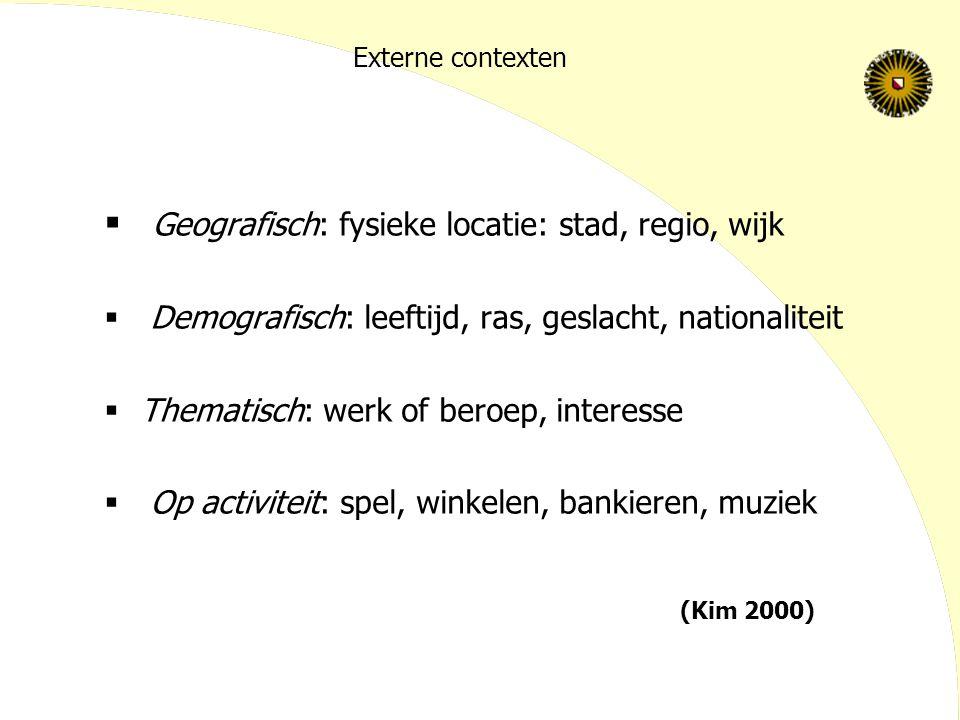 Geografisch: fysieke locatie: stad, regio, wijk