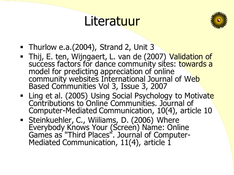 Literatuur Thurlow e.a.(2004), Strand 2, Unit 3