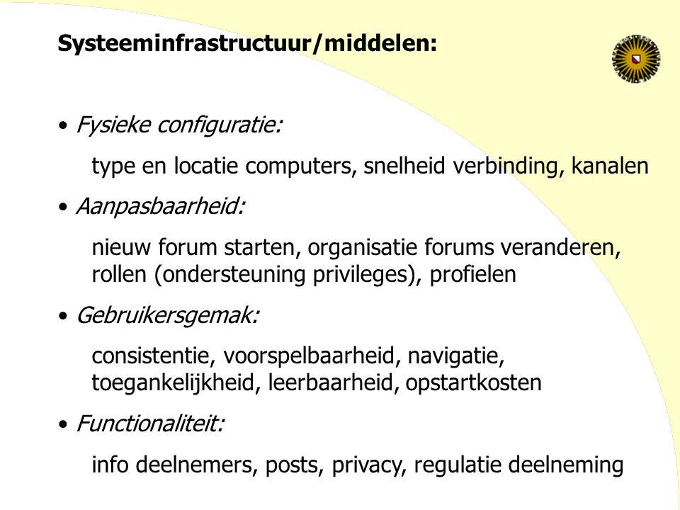 Systeeminfrastructuur/middelen: