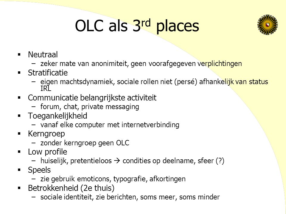 OLC als 3rd places Neutraal Stratificatie