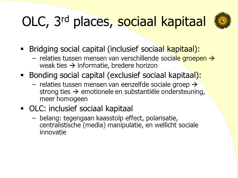 OLC, 3rd places, sociaal kapitaal