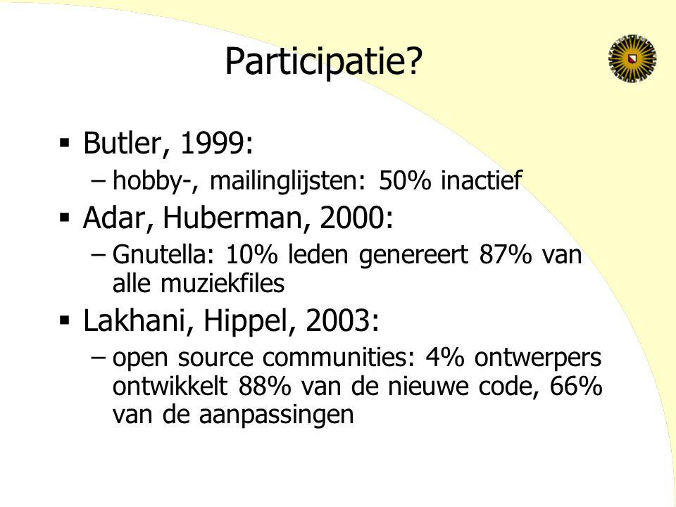 Participatie Butler, 1999: Adar, Huberman, 2000: