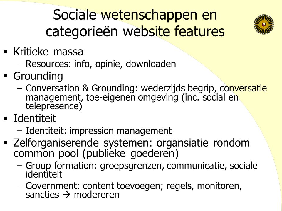 Sociale wetenschappen en categorieën website features