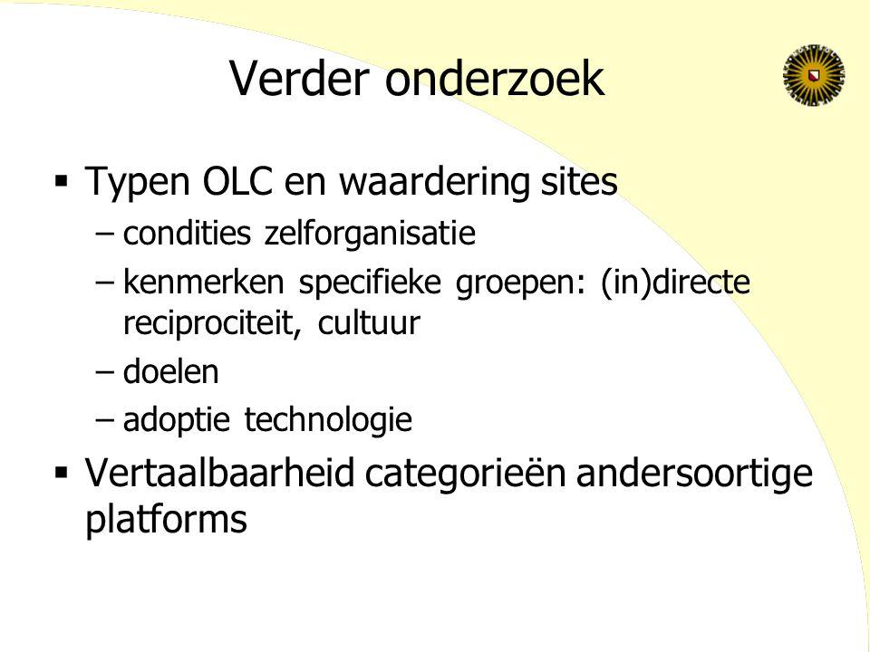 Verder onderzoek Typen OLC en waardering sites
