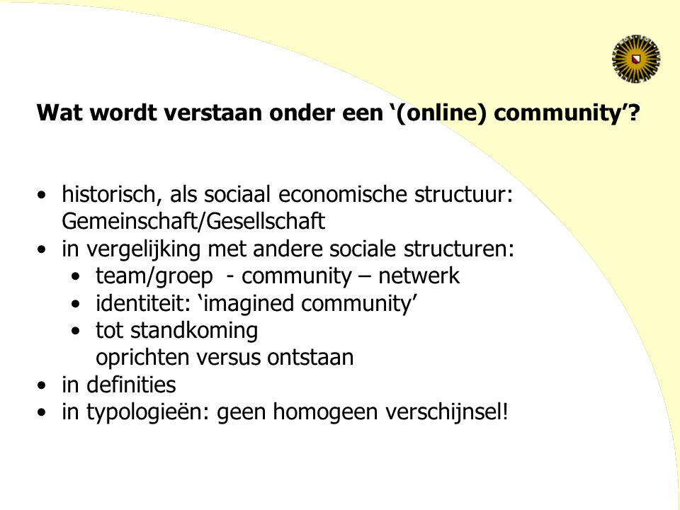 Wat wordt verstaan onder een '(online) community'