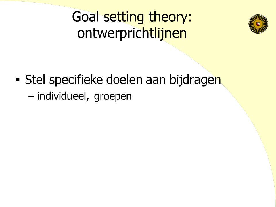 Goal setting theory: ontwerprichtlijnen