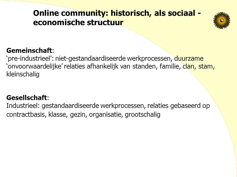 Online community: historisch, als sociaal - economische structuur