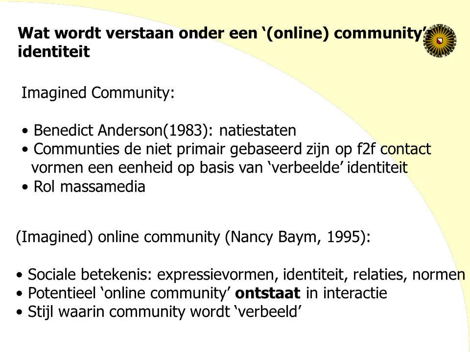Wat wordt verstaan onder een '(online) community':