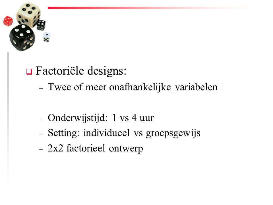 Factoriële designs: Twee of meer onafhankelijke variabelen