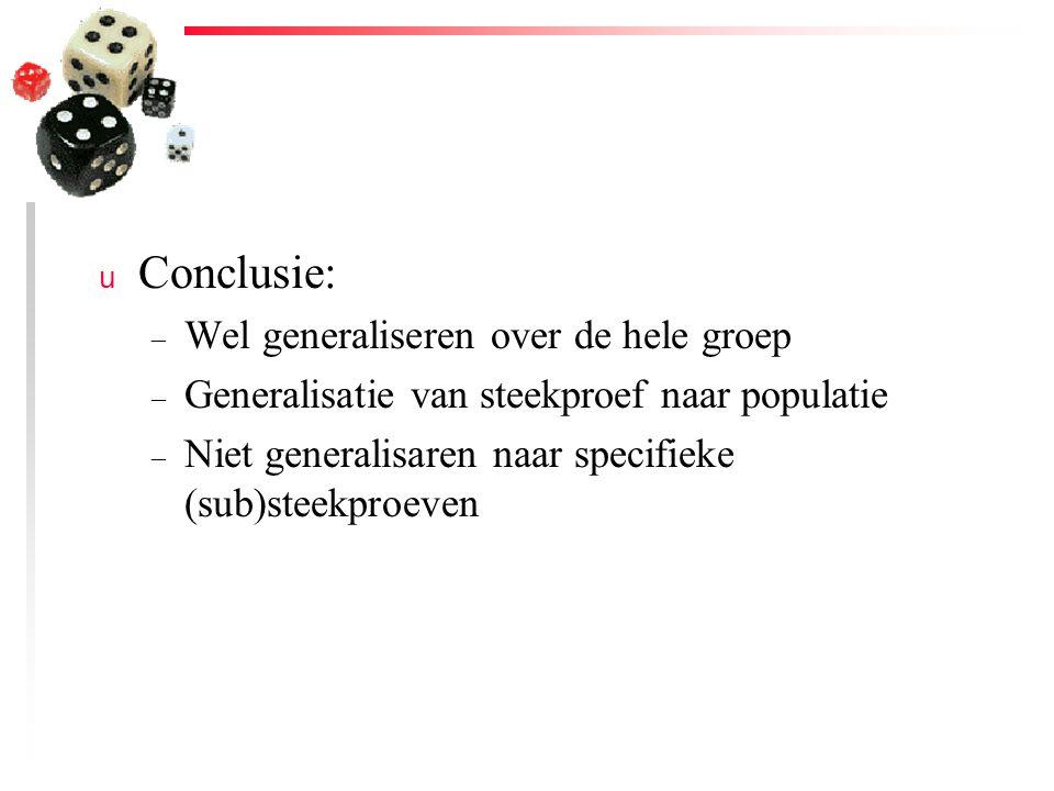 Conclusie: Wel generaliseren over de hele groep