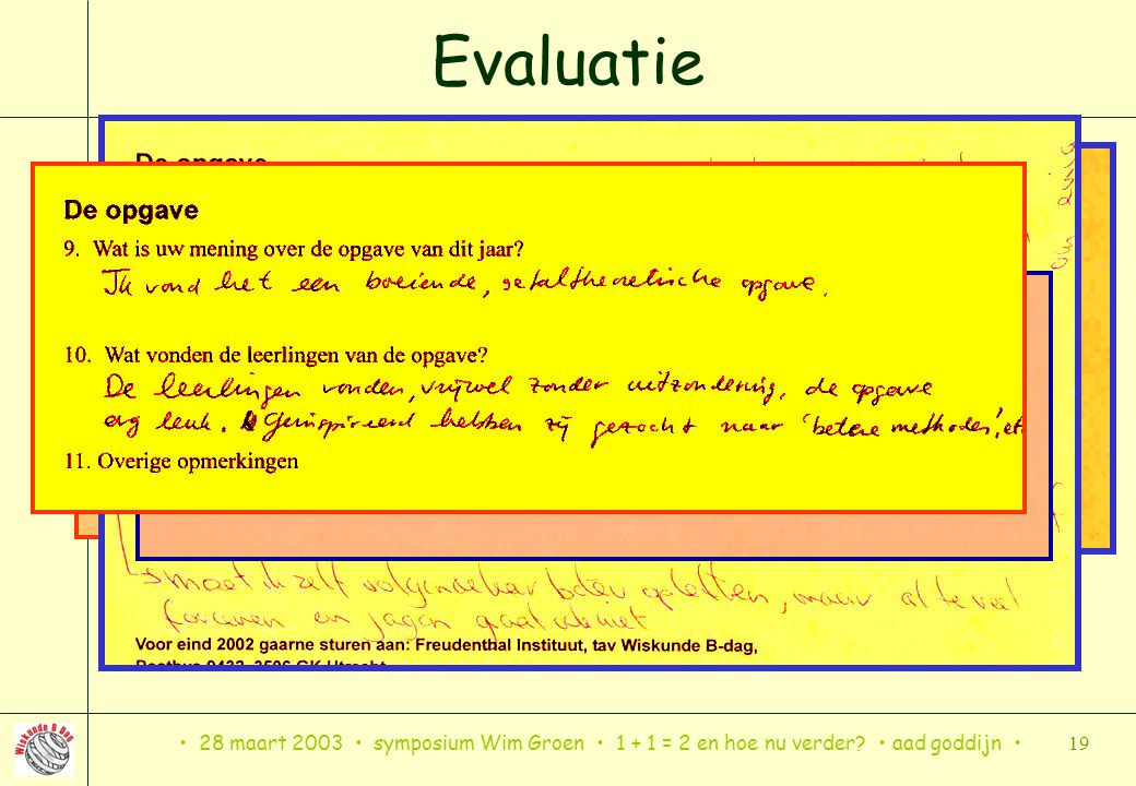 Evaluatie • 28 maart 2003 • symposium Wim Groen • 1 + 1 = 2 en hoe nu verder.