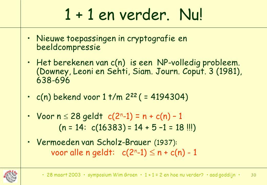 1 + 1 en verder. Nu! Nieuwe toepassingen in cryptografie en beeldcompressie.