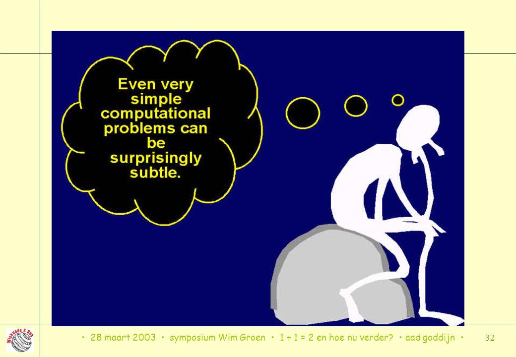 • 28 maart 2003 • symposium Wim Groen • 1 + 1 = 2 en hoe nu verder