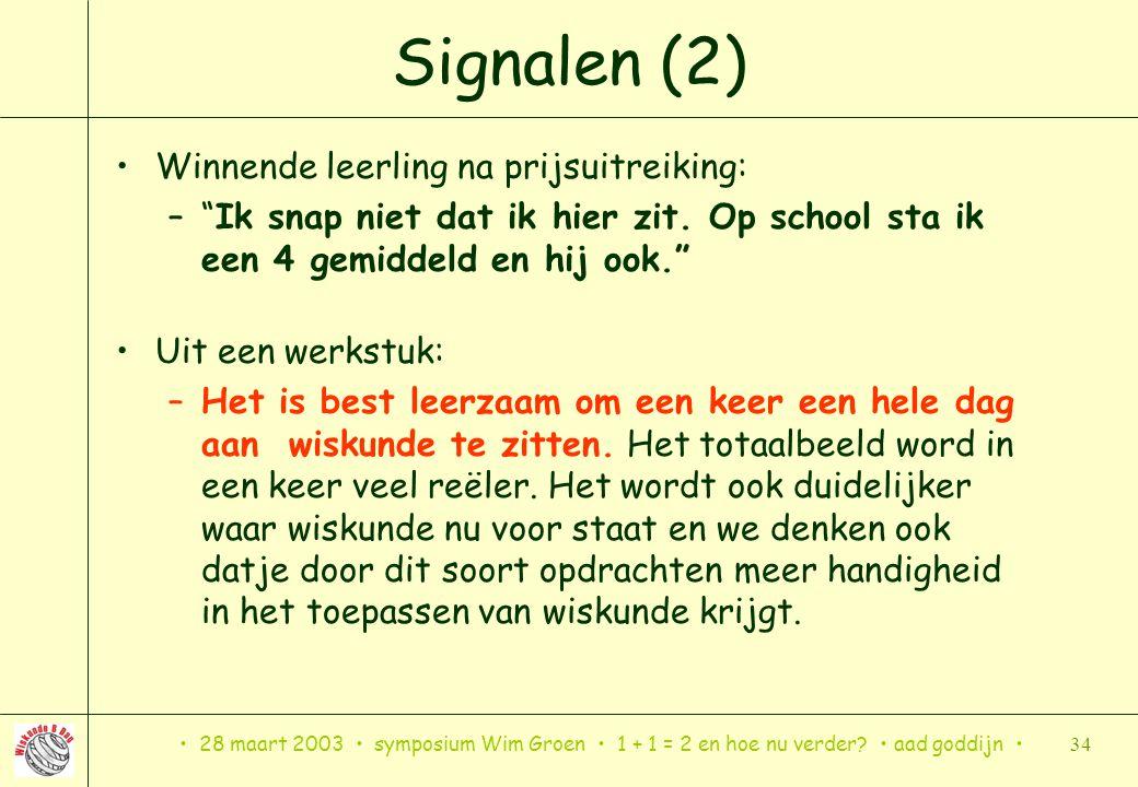 Signalen (2) Winnende leerling na prijsuitreiking: