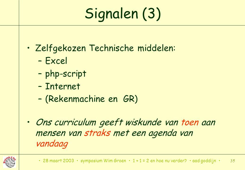 Signalen (3) Zelfgekozen Technische middelen: Excel php-script