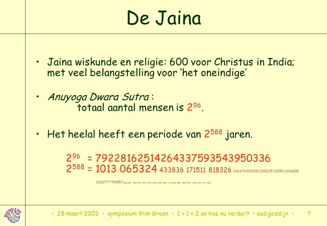 De Jaina Jaina wiskunde en religie: 600 voor Christus in India; met veel belangstelling voor 'het oneindige'