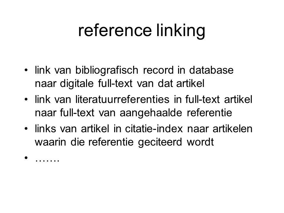 reference linking link van bibliografisch record in database naar digitale full-text van dat artikel.