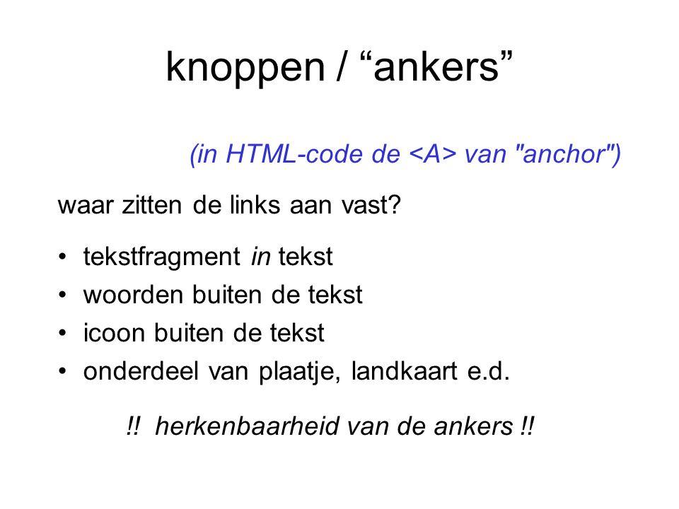 knoppen / ankers (in HTML-code de <A> van anchor )