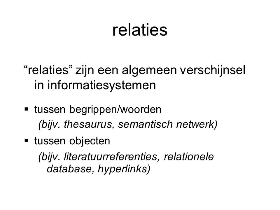 relaties relaties zijn een algemeen verschijnsel in informatiesystemen. tussen begrippen/woorden.
