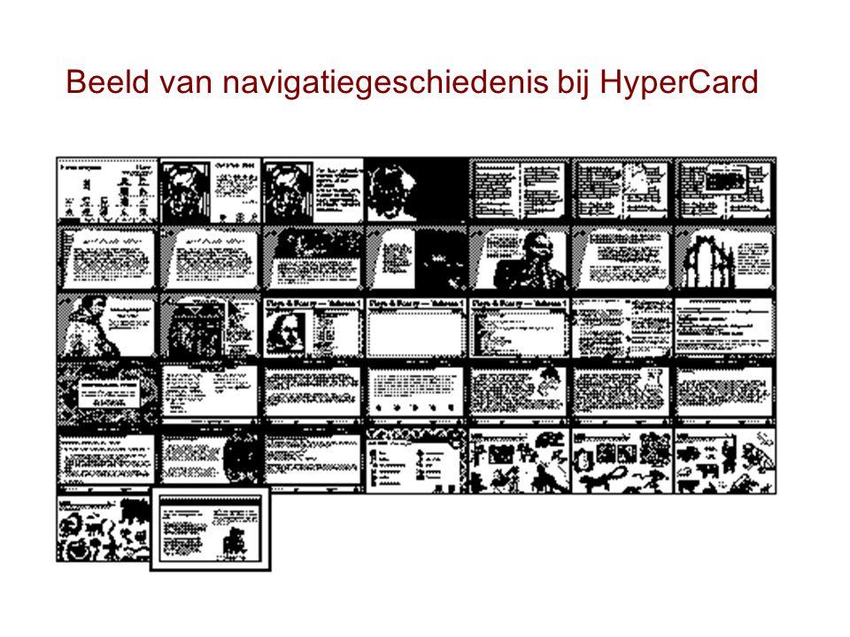 Beeld van navigatiegeschiedenis bij HyperCard