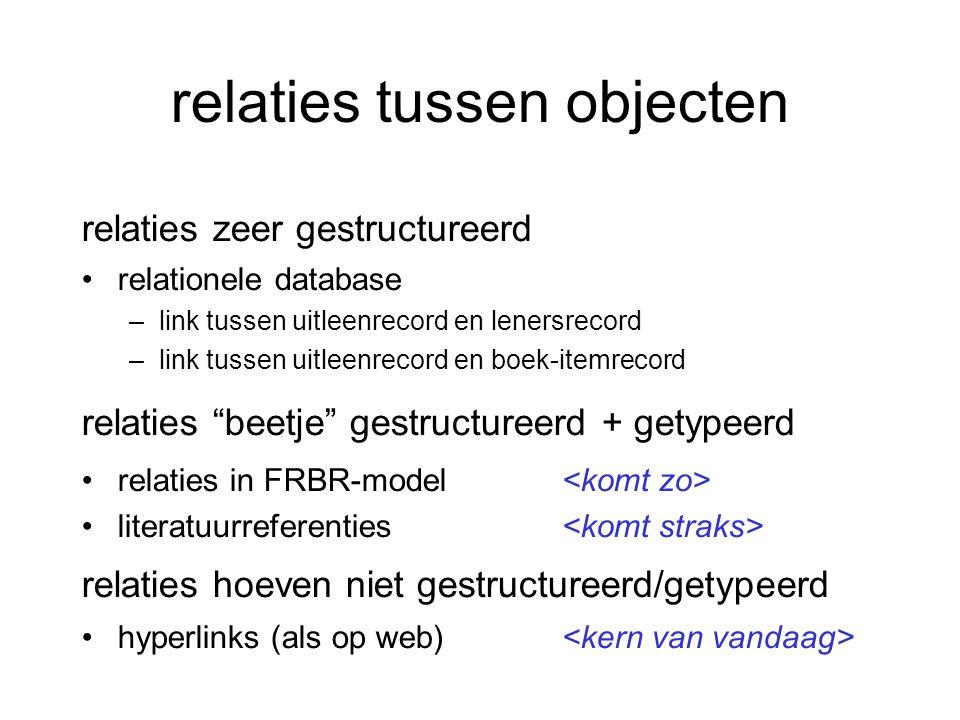 relaties tussen objecten