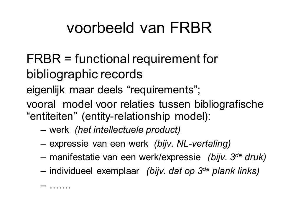 voorbeeld van FRBR FRBR = functional requirement for bibliographic records. eigenlijk maar deels requirements ;