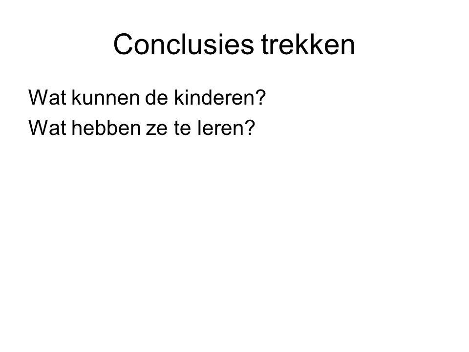 Conclusies trekken Wat kunnen de kinderen Wat hebben ze te leren
