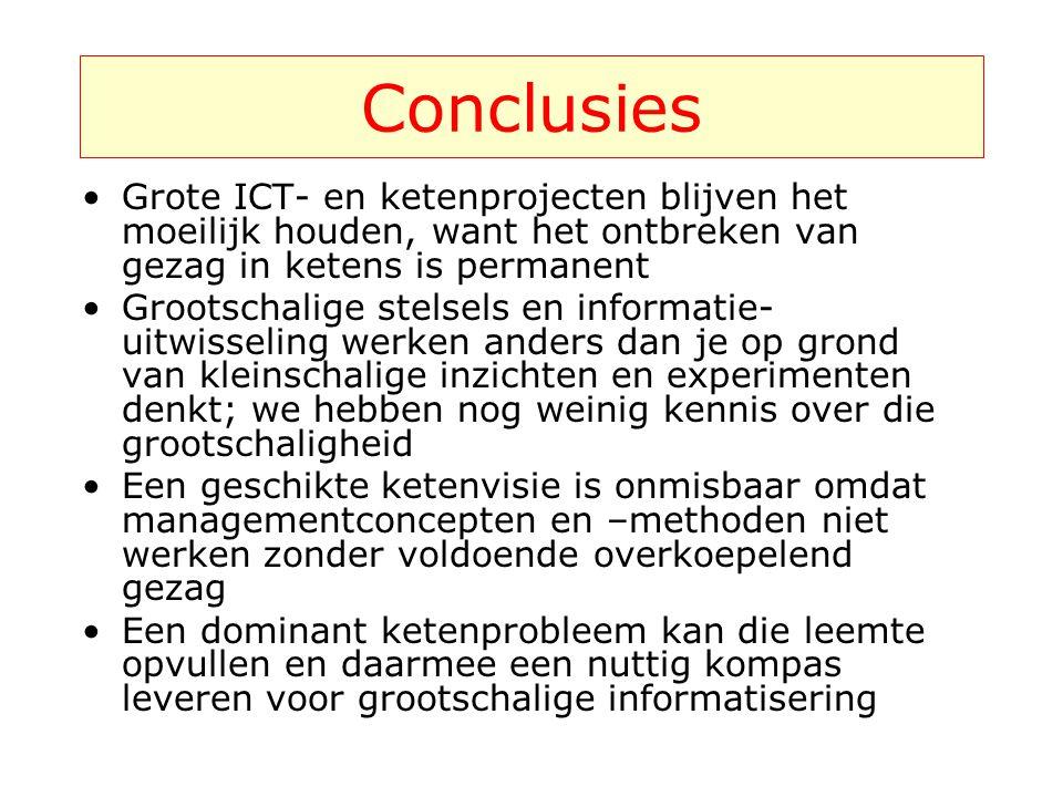 Conclusies Grote ICT- en ketenprojecten blijven het moeilijk houden, want het ontbreken van gezag in ketens is permanent.