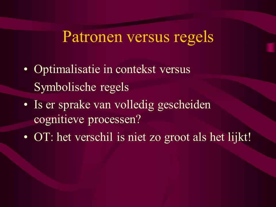 Patronen versus regels