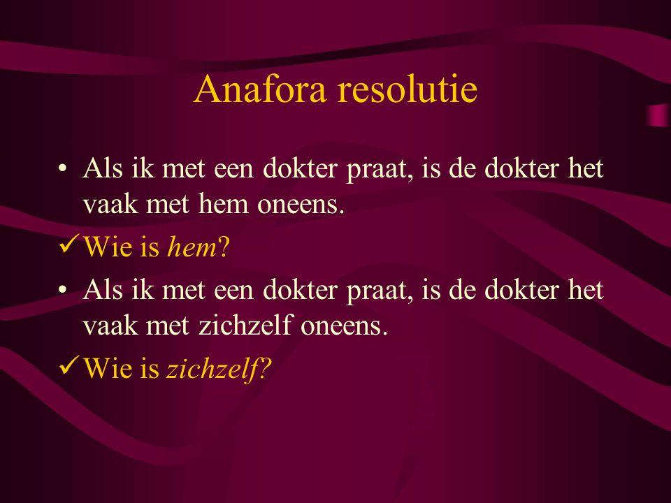 Anafora resolutie Als ik met een dokter praat, is de dokter het vaak met hem oneens. Wie is hem
